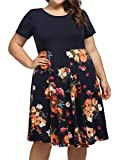 kissmay Plus Size Summer Casual Midi Dresses with Pockets, Flattering Flowy Floral Pleat Swing Dress for Womens Bridesmaid Spring and Summer Mini Dresses Plus for Cocktail Party Navy Yellow XX-Large (Apparel)