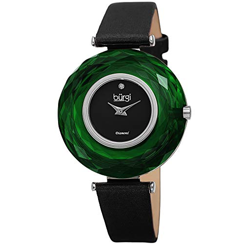 Burgi BUR252 Women's Watch - Gorgeous Large Colored Faceted Crystal Bezel with Slim Leather Strap Three Hand Movement with a Diamond Marker (Forest Green)