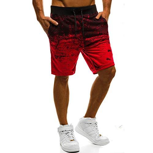 Sport Shorts Herren Sommer Strand Sea Surfen Kurze Hose Boxing Badeshorts Bermuda Running Fitness Gym Jogging Lightweight Training Shorts Baumwolle Qmber unordentliche Blumen Verlaufshose(Red,2XL)