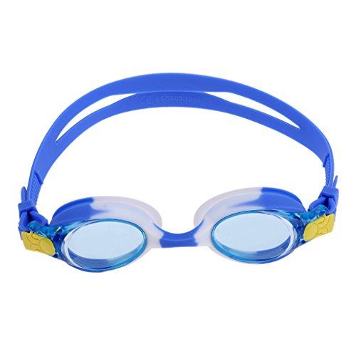 dailymall Gafas de Natación Antivaho Ajustables para Niños Gafas de Buceo para Esnórquel Gafas para Niños Y Adolescentes, Gafas de Natación Antivaho Anti-UV Par - Azul Blanco