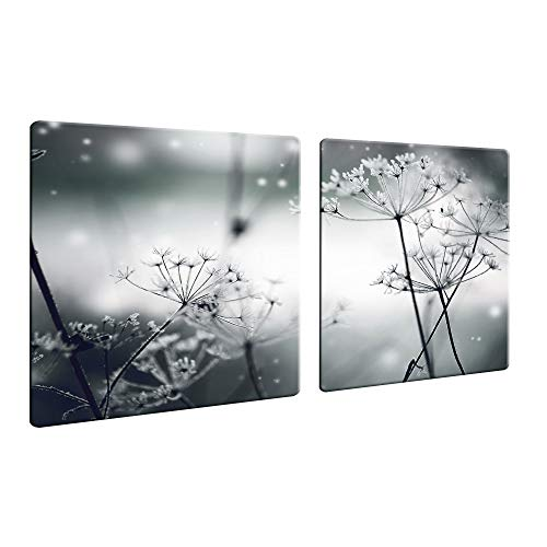 CTC-Trade | Herdabdeckplatten 2X 40x52 cm Ceranfeld Abdeckung 2teilig Glas Spritzschutz Abdeckplatte Glasplatte Herd Ceranfeldabdeckung Blumen Schwarz Grau