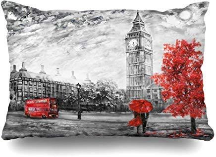 GFGKKGJFF0807 - Funda de cojín con diseño de Londres en Lienzo, Color Rojo y Negro, 40 x 60 cm