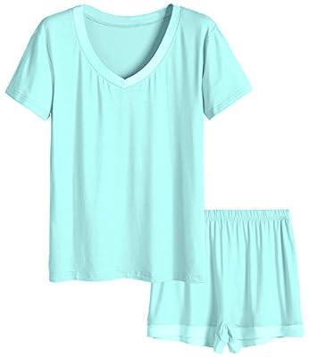 Latuza Women's V-Neck Sleepwear Short Sleeve Pajama Set S Green