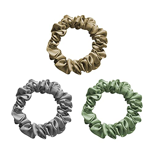 100% Mulberry Silk Scrunchies for Hair,19 Momme,Gentle Skinny Hair Ties Ropes Frizz & Breakage Prevention for Women Girls Hair Accessories,3 Pcs (Mixed(Gold,Gray,Green))