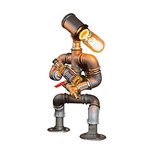 Steampunk Industrial Lamp Dispensador de vinos, robot Steampunk Desktop Light Bar Supplies Decoración para el hogar Industrial Vintage Hierro Agua Escritorio Tuber Mesa Lámpara Retro Lámparas de ilumi