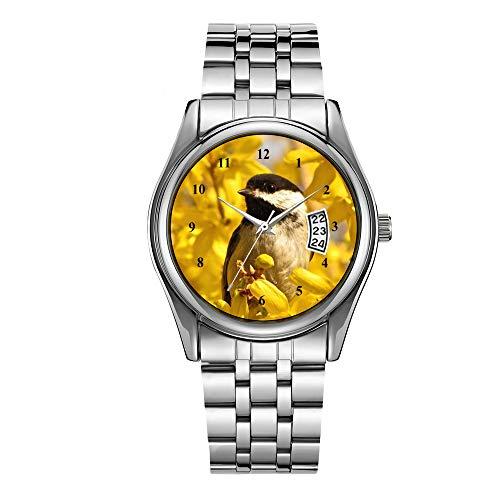 Reloj de lujo para hombre de 30 m impermeable fecha reloj masculino deportes relojes hombres cuarzo casual reloj de pulsera de Navidad Chickadee pájaro en flores amarillas reloj