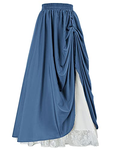 Women's Renaissance Victorian Medieval Skirt Layered Maxi Skirts Denim Blue XL