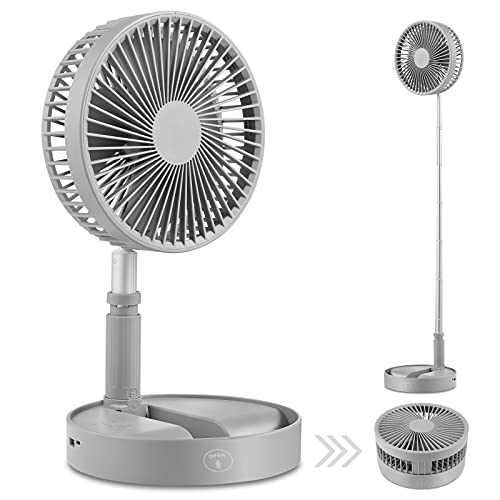 Ventilatore da tavolo e da tavolo, Ventilatore circolatore d aria Mini ventilatori da viaggio portatili Alimentato tramite USB, Altezza regolabile Ventilatore da pavimento su piedistallo (Grey)
