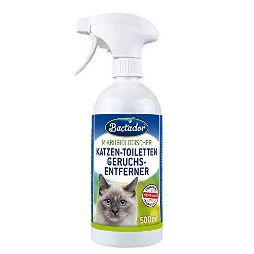 Bactador Katzentoiletten Geruchsentferner Spray 500ml - Biologischer Enzymreiniger als Gebrauchsfertige Lösung gegen Katzenurin, Tiergerüche, Schweiß - Für Haushalt & Tierumgebung