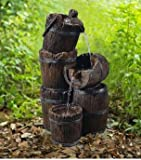 Ark Dcor- Backyard Water Fountains Outdoor - Distressed Brown Lightweight Resin Three Tiers with Pump and LED Lights - Bring Charm to Your Garden Or Veranda with This Eye-Catching Fountain