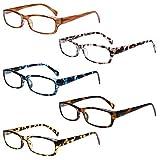 5-Pack Reading Glasses Blue Light Blocking Anti Eyestrain Computer Reading Glasses for Women and Men Readers (5 Pack Mix Color, 2.25)
