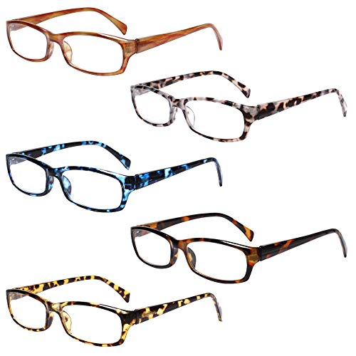 5-Pack Reading Glasses Blue Light Blocking Anti Eyestrain Computer Reading Glasses for Women and Men Readers (5 Pack Mix Color, 1.75)