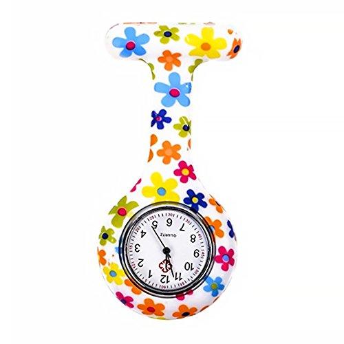 Naisicatar reloj de enfermera con broche FOB, para batas unisex de médicos y enfermeras, Broche colgante de bolsillo con flores. Reloj de cuarzo de bolsillo con clip # Flores de colores # X 1