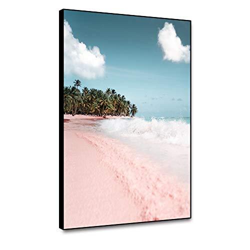 Arte de la pared del mar de Miueapera para sala de estar, dormitorio, playa roja, cuadros marinos, naturaleza, sin marco, decoración moderna para el hogar, 40,6 x 61 cm, carteles e impresiones