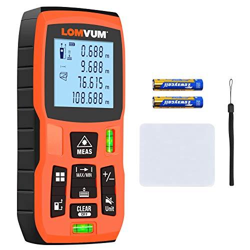 Metro Laser, Lomvum 120m Telemetro Laser con Campo di Misura da 0,05 a 120 m, Display LCD retroilluminato con Bolle a 2 Livelli Laser con Funzione silenziosa e misurazione Rapida