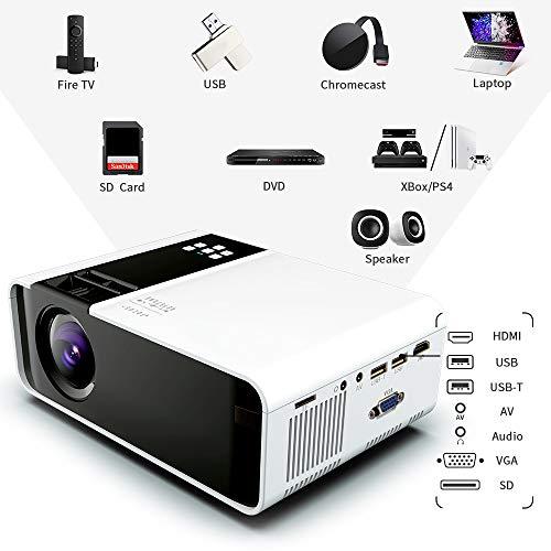 Mini proyector, 1080P HD compatible con 4500 Lux proyector de ...