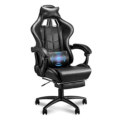 Soontrans Massage Plus Gaming Chair,Ergonomic Executive Swivel Rolling Chair,Large Size Computer Chair,High Back Video Gaming Chair with Footrest,Headrest and Lumbar Pillow Support(Galaxy Black)