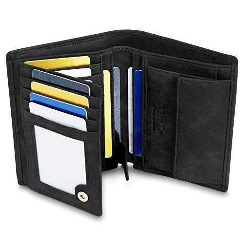 GenTo® Dublin Herren Geldbörse mit Münzfach - TÜV geprüfter RFID, NFC Schutz - geräumiges Portemonnaie - Geldbeutel für Männer - Portmonaise inkl. Geschenkbox (Schwarz - Soft)