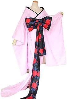 華麗風 ピンク着物セット 和服 飾り付き ハロウィン コスプレ コスチューム (XLサイズ)