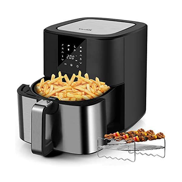 KitCook Air Fryer Max XL 6.8QT, Hot Oven Cooker with skewers, 8 Preset Functions Air Fryer Cooker,Non-stick Detachable…