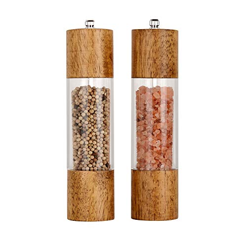 XQXQ Premium Acrylic Salt and Pepper Grinder Set, Manual Salt and Pepper Mills- Wooden Shakers with Adjustable Ceramic Core-Salt Grinder and Pepper Mill -8 Inches-Pack of 2