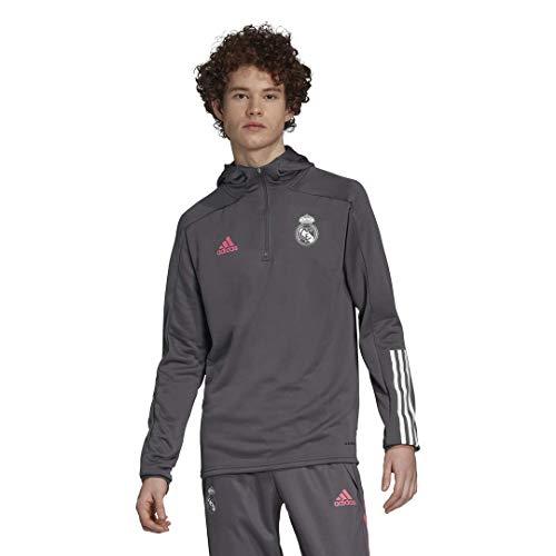 Adidas Real Madrid Temporada 2020/21 Chaqueta con Capucha Oficial, Unisex, Gris, L