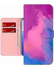 TYWZ Kleurrijke Schilderij Portemonnee Case voor iPhone SE 2020,Aquarel Ontwerp Folio Flip PU Leer met Kaarthouder Slots Stand Functie Cover-Paars