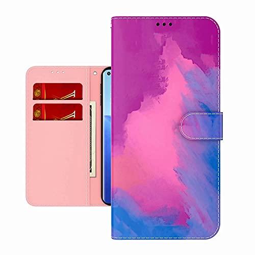 TYWZ Colorato Pittura Portafoglio Cover per iPhone 12 Mini,Acquerello Design Custodia a Libro PU Pelle Flip Case con Porta Carte Magnetica-Viola