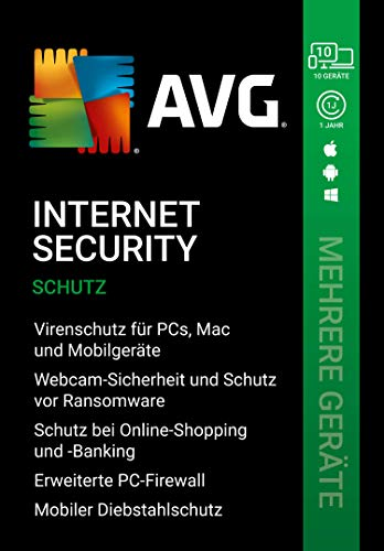 AVG Internet Security 2020 | Mehrere Geräte | 10 Geräte | 1 Jahr | |Download|PC, Laptop, Smartphone, Mac|12 monate| [Lizenz]|Download|Download|