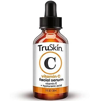TruSkin Vitamin C Serum for Face Anti Aging Serum with Hyaluronic Acid Vitamin E Organic Aloe Vera and Jojoba Oil Hydrating & Brightening Serum for Dark Spots Fine Lines and Wrinkles 1 fl oz