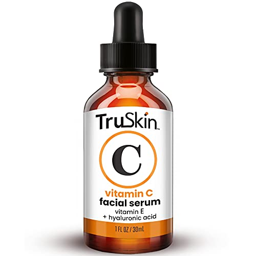 TruSkin Vitamin C Serum for Face, Anti Aging Serum with Hyaluronic Acid, Vitamin E, Organic Aloe Vera and Jojoba Oil, Hydrating & Brightening Serum for Dark Spots, Fine Lines and Wrinkles, 1 fl oz