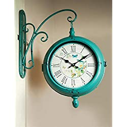 CC Home Furnishings Greenish Blue and White Bracket Analog Wall Clock 15.75 x 3.75 x 19.5