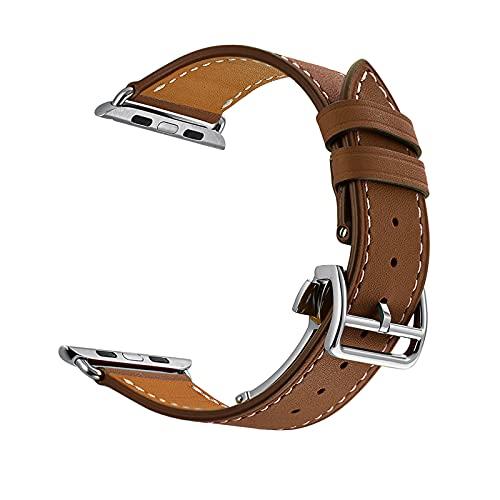 Pulsera de Reloj de Reemplazo de Piel Becerro,Para Apple Watch Correa 38mm 40mm 42mm 44mm,Vintage,Correa de cuero con hebilla de plegable ,para iWatch Serie 1/2/3/4/5/6/SE.,Light Brown,38mm/40mm