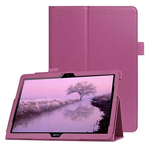 FAN SONG Custodia per Huawei MediaPad T5 10 Cover - Ultra Sottile Leggero in Pelle PU Protettiva Supporto Custodia con Tasca delle Carte per Huawei MediaPad T5 10.1Pollici 2018 Tablet - Viola