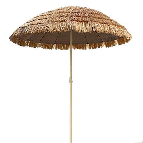 Ø 180 cm Sonnenschirm | Neuer Hawaii-Schirm | Sonnenschutz Gartenschirm | Raffia Bast | Sand Strohschirm Cafe Store Patio Pool | UV-Schutz Bastschirm