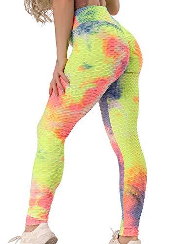 FITTOO Damen Sport Leggings Leggings Yoga Fitness Hose Lange Sporthose Stretch Workout Fitness Jogginghose Design 1 - Regenbogen S