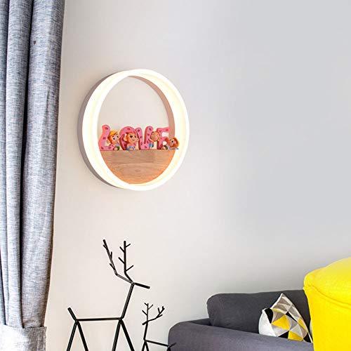 Modern 18W LED Innen Wandleuchte 3000K Warm Licht Wandlampe Rund Ring Holz und Acryl Weiss Wandbeleuchtung für Schlafzimmer Esszimmer Nachtwand Hotel Gästezimmer Dekorativ Wandlicht