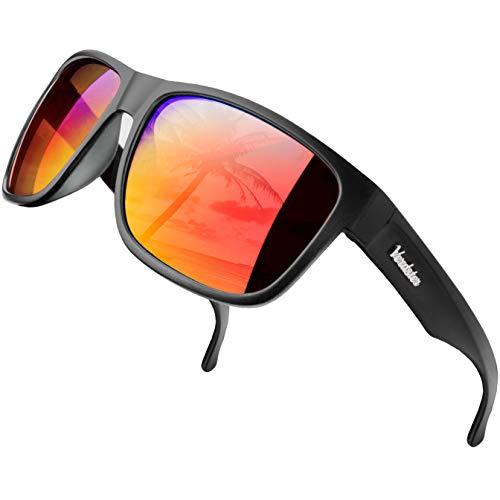 Verdster Islander - Verspiegelte & Polarisierte XL Sonnenbrille für Herren - Modernes, breites Gestell - Inklusive Accessoires