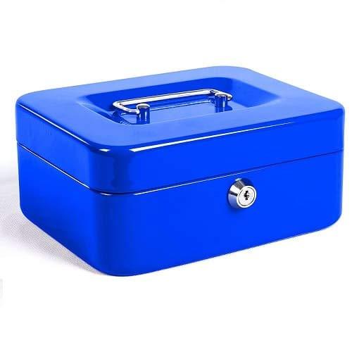 CABLEPELADO Caja fuerte metalica portatil caudales pequeña Azul
