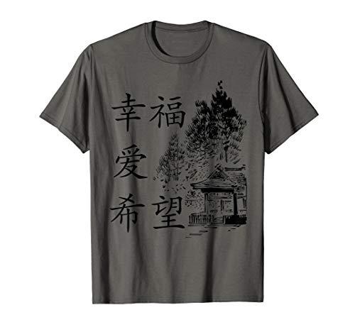 Glück Liebe Hoffnung China Chinesisch Schriftzeichen Pinsel T-Shirt