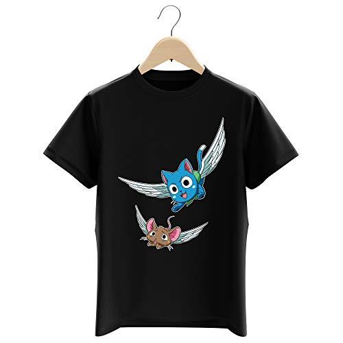 Okiwoki T-Shirt Enfant Garçon Noir Parodie Fairy Tail - Happy l'exceed - Chat Volant à la Chasse. (T-Shirt Enfant de qualité Premium de Taille 11-12 Ans - imprimé en France)