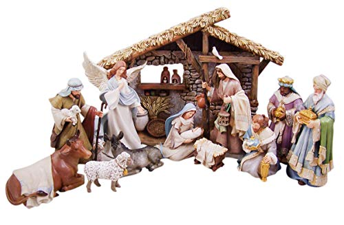 Bethlehem Nights Christmas Nativity Scene Figurines with Creche, 12 Piece Set