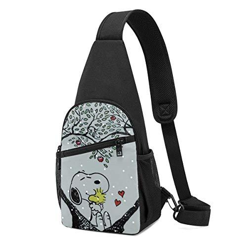 Snoopy Crossbody Sling Mochila de viaje de senderismo en el pecho, mochila para mujeres y hombres