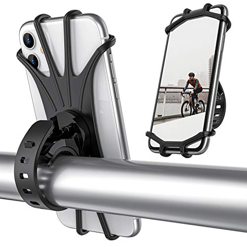 ORIbox Bike Phone Mount, Universal Motorcycle Handlebar Mount, 360° Rotation Silicone Bicycle Phone Holder, Compatible with iPhone 12/11 Pro Max XS Max XR X 8 7 6S Plus SE 2020 12 mini,Samsung Galaxy