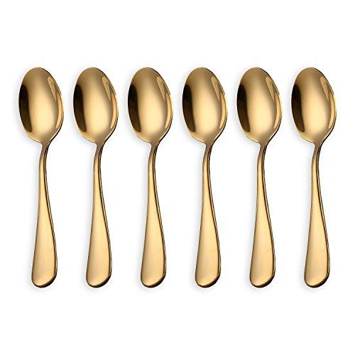 HOMQUEN Cucharas de café Dorado Brillante, cucharadas de café de Acero Inoxidable de 6 Piezas Cucharas de té, cucharas de Pastel Mini (cucharadas de Oro y café)