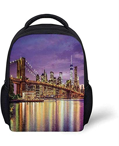 New York Stylish Backpack,NYC Exquisite Skyline Manhattan Broadway Old Neighborhood Tourist Country Print for School Travel,9.4'L x 3.5'W x 12.2'H