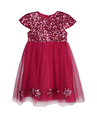 KRISP Vestido Niña Tutú Fiesta Boda Ceremonia Dama Honor Elegante Lentejuela Año Talla, Rojo (4205), 3 Años, 4205-RED-3/4YR