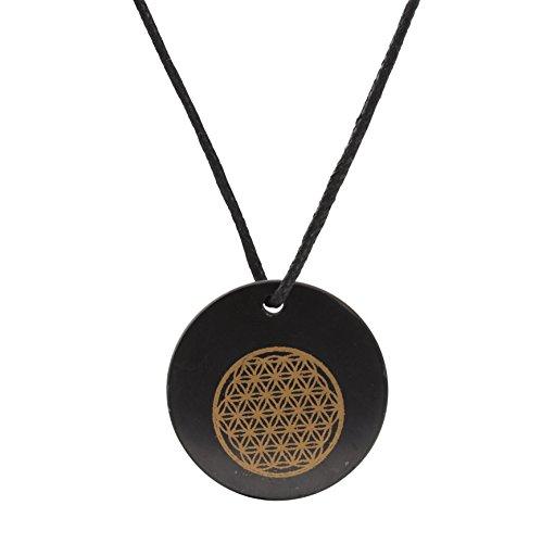 Collar de Shungite con Colgante Diseño Círculo de la Vida Grabado con Láser Hecho de Piedra Shungit para Protección Electromagnética | Shungita Usada para Equilibrar Energía | Círculo de la Vida