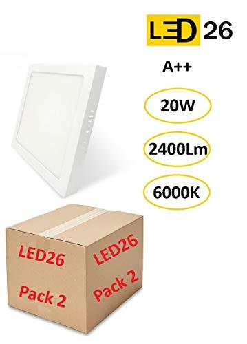 PACK DE 2 Plafones de Techo LED 20W 2400lm Blanco Frío 6000k Cuadrado Superficie Panel LED Iluminacion Para Sala de Estar, Comedor, Dormitorio, Oficina, Tienda