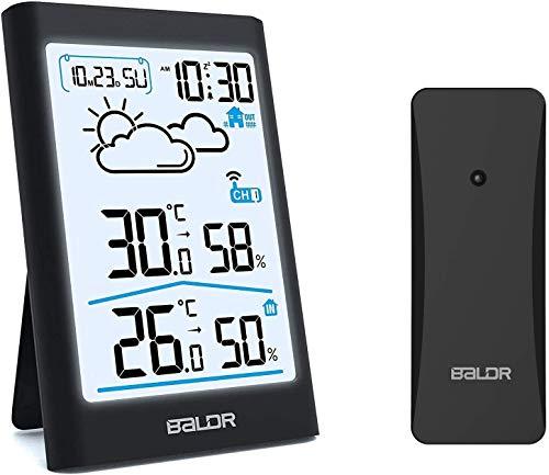 BALDR Wetterstation Funk mit Außensensor, Digital Thermometer Hygrometer Innen und Außen Raumthermometer Hydrometer Feuchtigkeit mit Wettervorhersage, Uhrzeitanzeige, Wecker und Nachtlicht(Schwarz)